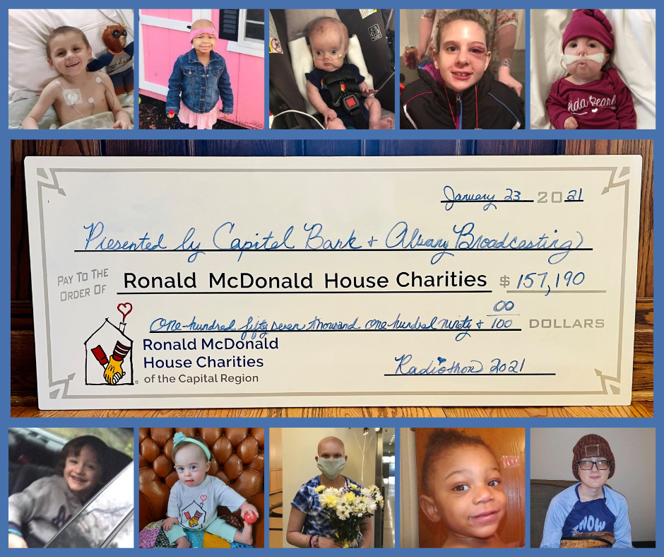 Collage of children's faces and 2021 Radiothon check