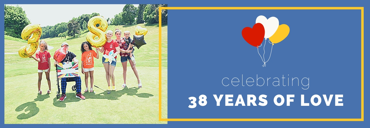 38 Years of Love header with photo of kids holding balloons