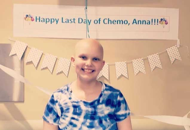 Anna LaBella smiling on her last day of chemotherapy