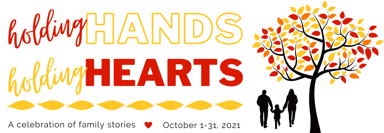 Holding Hands Holding Hearts Graphic with family silhouette under autumn tree
