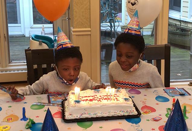 Twin boys celebrating birthday at Albany Ronald McDonald House